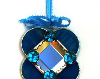 Small Turquoise Beveled Stained Glass Mirror