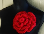 Large Flower Pin Red Crochet Flower Brooch