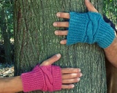 Fingerless unisex mittens Knit pattern - PDF Chic Cuff gloves - CABLE easy PHOTO tutorial Wrist Warmers Pattern - Instant Download