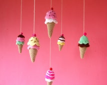 Crochet Mobile Pattern PDF - Ice Cream Tiny - rattle, toy, baby mobile  - Instant Download