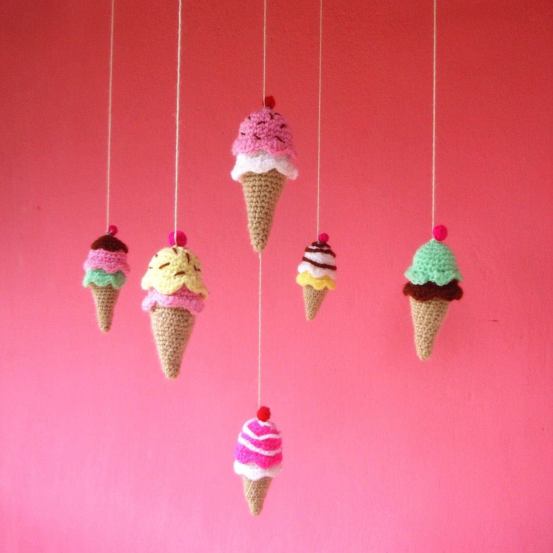Amigurumi Ice Cream Tutorial : Crochet Mobile Pattern PDF Ice Cream Tiny rattle toy by bySol
