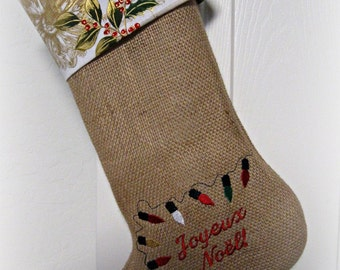 Joyeux Noel/ Christmas lights/ Embroidered/ burlap/ Christmas stocking/ French/ Christmas decor/ French Christmas