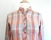1970s Plaid Shirt Vintage 70s Orange Blouse - S / M