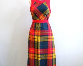 1970s Plaid Dress Vintage 70s Day Glo Dress - XS