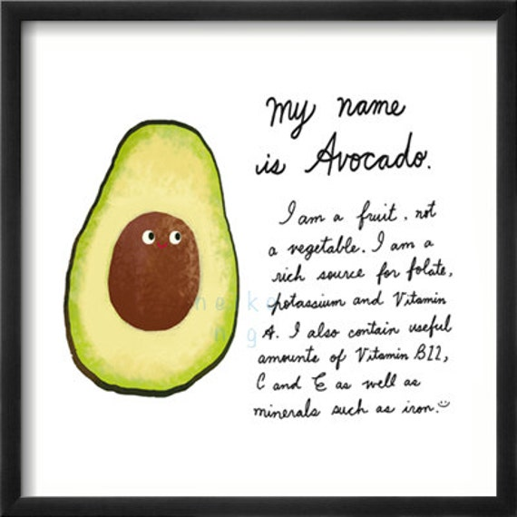 Avocado - Fruit art Print - great for childrens rooms