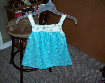 Toddler Summer Top  Aqua Floral Print Cotton --Size 3T, Clearance Sale