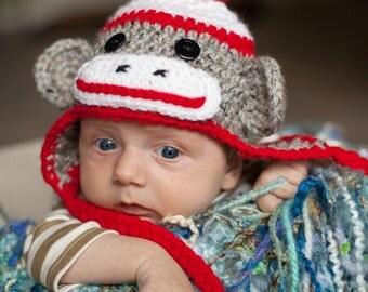 Crochet Sock Monkey Hat - newborn to toddler sizes available