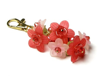 Rose Red Flower Handbag Charm, Strawberry Floral, Swarovski Crystal, Pink Green Pearl Cluster, Gold Purse Charm, Spring Mother's Day Gifts,