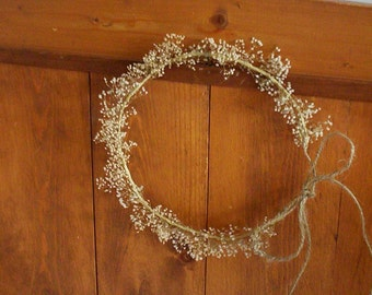 country bride dried flower crown twine headpiece barn wedding accessories babys breath halo flower girl bridal rustic hair wreath accessory