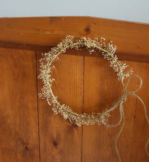 country bride dried flower crown twine headpiece barn wedding accessories babys breath halo flower girl bridal rustic hair wreath accessory