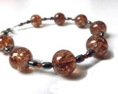 Autumn Brown Glass Crackle Beads and Hematite Bracelet - LaPetiteGemme