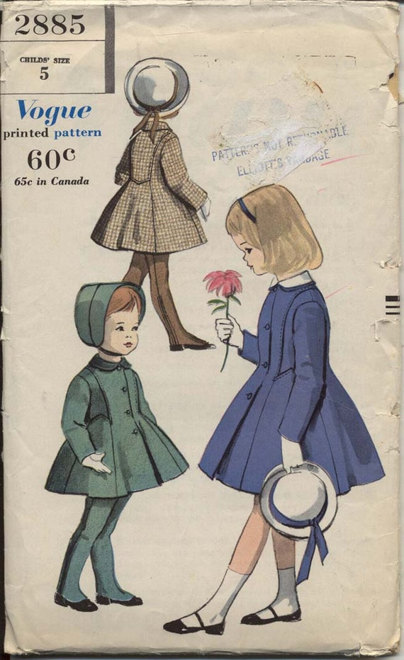 Vogue 2885 Girls 1950s Princess Coat and Leggings Pattern Criss Cross Suspenders Childrens Vintage Sewing Pattern Breast 23.5