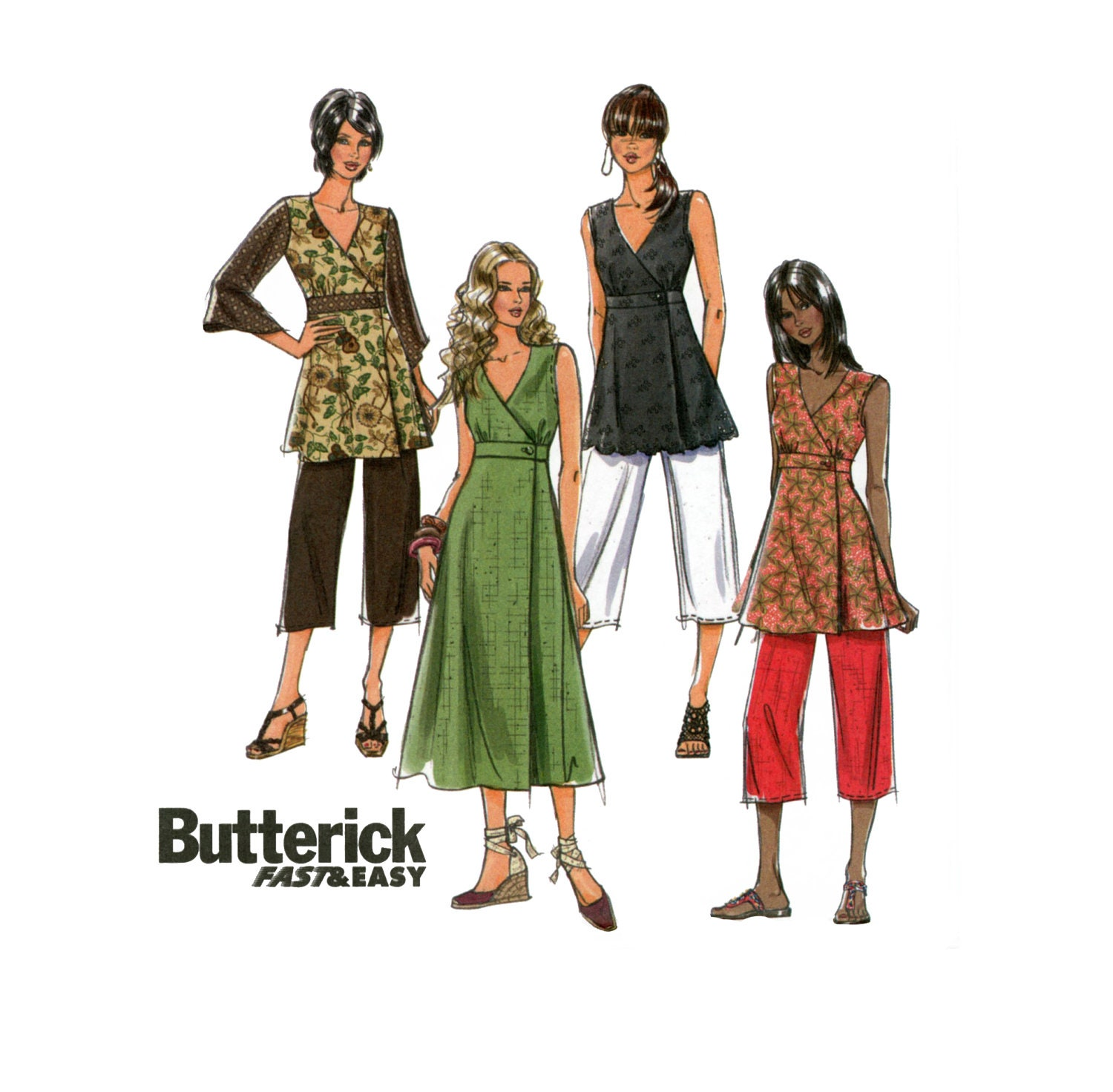 Dress Top And Pants Pattern Butterick B5046 Misses Summer Day