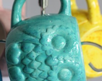 Teal Owl Mug Handmade Ceramic from my Charleston, SC Studio