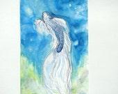 Koi Fish// Evening Star// original watercolor painting fish butterfly koi stars sky night