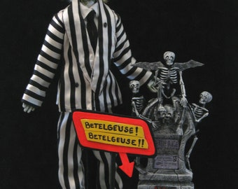One of a Kind Handcrafted Beetlejuice Art Doll by The Illusivewoman