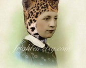 Leopard Hat Art, Retro Art Print, Vintage Photography, Unusual Portrait, Mixed Media Collage, Weird Art