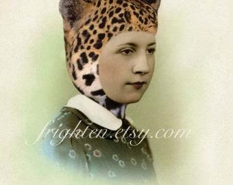 Leopard Hat Art, Retro Art Print, Vintage Photography, Unusual Portrait, Mixed Media Collage, Weird Art