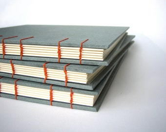 Slate Gray Guest Book / Photo Album / Sketch Book - Coptic Stitch Binding, Gray and Orange, Hand Bound Book, Made to Order