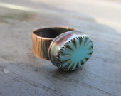 SALE: Copper Turquoise Sunshine Ring 1