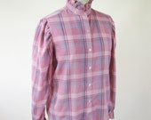 1980s Pink Plaid Blouse Puff Sleeve Ruffle Collar Womens Size Large