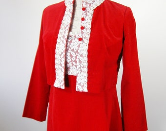 1960s Red Velveteen Dress Jacket Set Size Extra Small Lanz Original