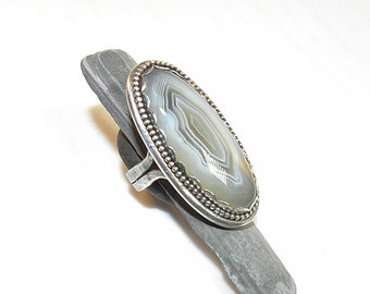 Botswana Agate Sterling Ring Generous Oval R120
