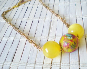 Gumball Beads Necklace, Upcycled Superball, Red Yellow Blue, Kitschy, OOAK, Big bead necklace