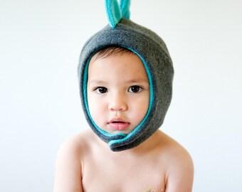 Grey Dinosaur Fleece Hat with Snap Closure