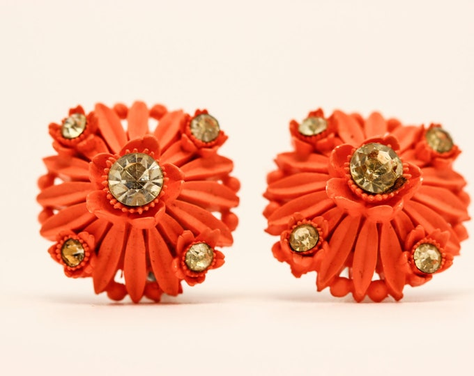 Rhinestone Orange Vintage Cufflinks Cuff Links 7E