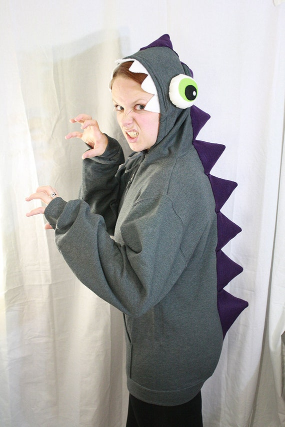 bug-eyed swamp monster hoodie - gray, purple and green