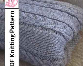 """PDF KNITTING PATTERN, Blanket knitting pattern, 60""""x72"""", Double Cable throw/afghan/blanket knitting pattern"""