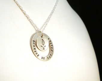 UU Chalice - Custom Circle and Disc Sterling Silver Pendant / Necklace