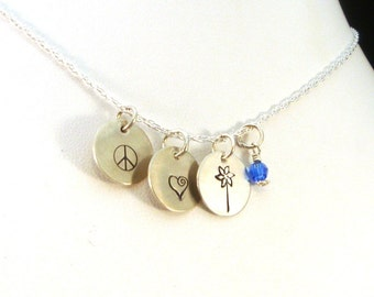 Peace Love Pinwheels Necklace, Child Abuse Awareness Necklace