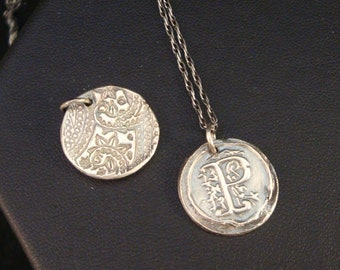 Wax Seal Initial Necklace in Fine Silver, Vintage Inspired Monogram Necklace, Letter P