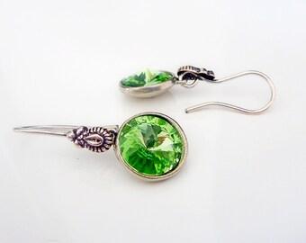 Swarovski Earrings in Peridot Green & Antiqued Silver