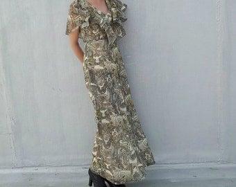 1970s Prom Dress 70s Vintage Art Nouveau Boho Chic Maxi Dress Garden Party 1960s Shelana Mucha Sarah Bernhardt Cotton Rustic Wedding Dress