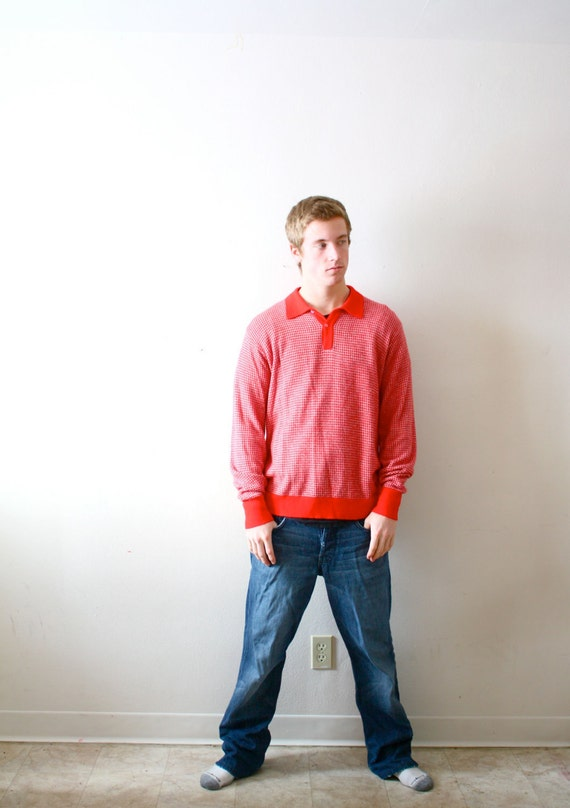 Retro vintage mens red sweater