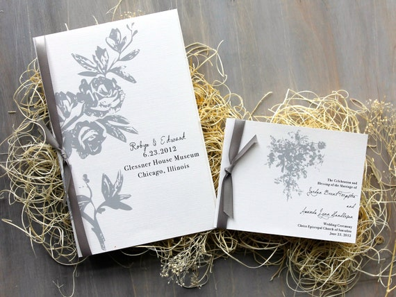 All White - Gray and White Wedding Ceremony Booklet Programs - Purchase to Start the Ordering Process