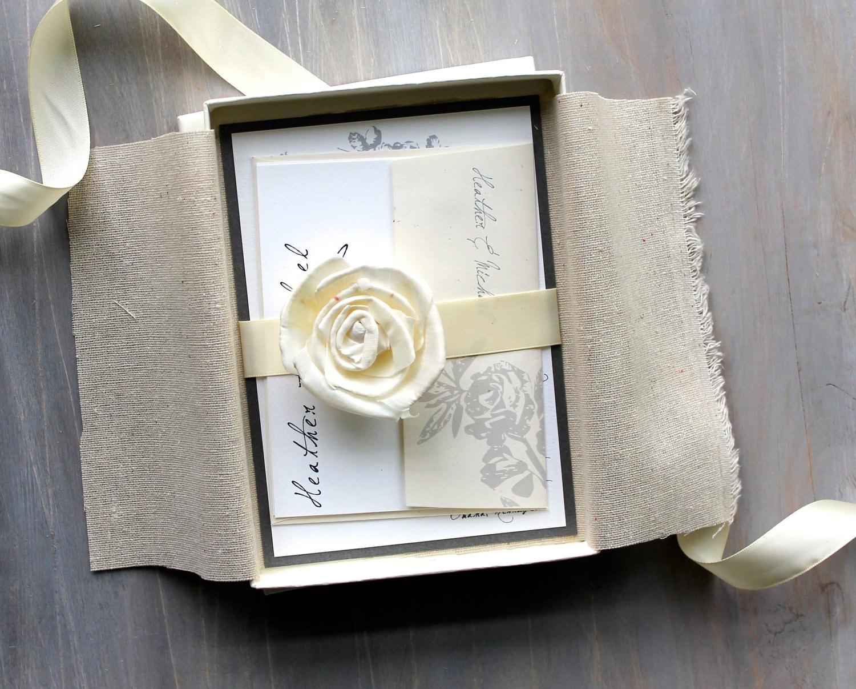 Box Wedding Invitations: Rustic Ivory Wedding Invitations Elegant Boxed By BeaconLane