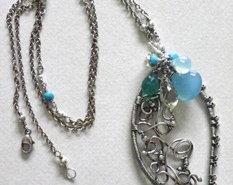 Sterling silver handmade wirewrapped chain necklace blue green gemstones women's jewelry