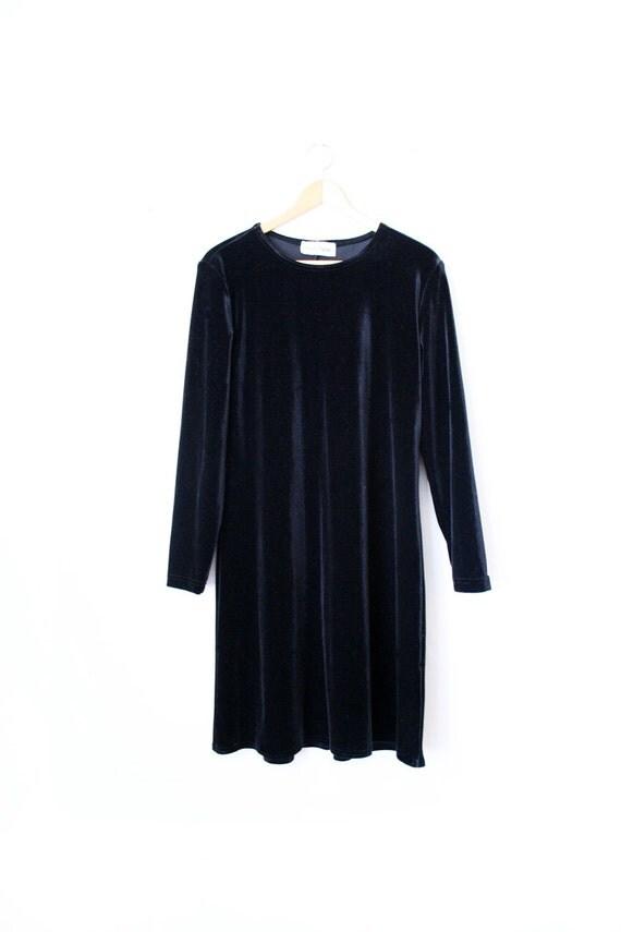 Vtg Black Velour Long Sleeve Knee Length Dress Avant Garde Punk