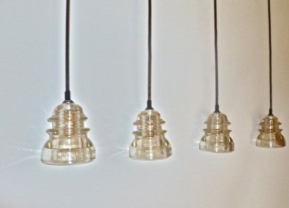 Iridescent clear antique insulator hanging by for Antique insulator pendant lights