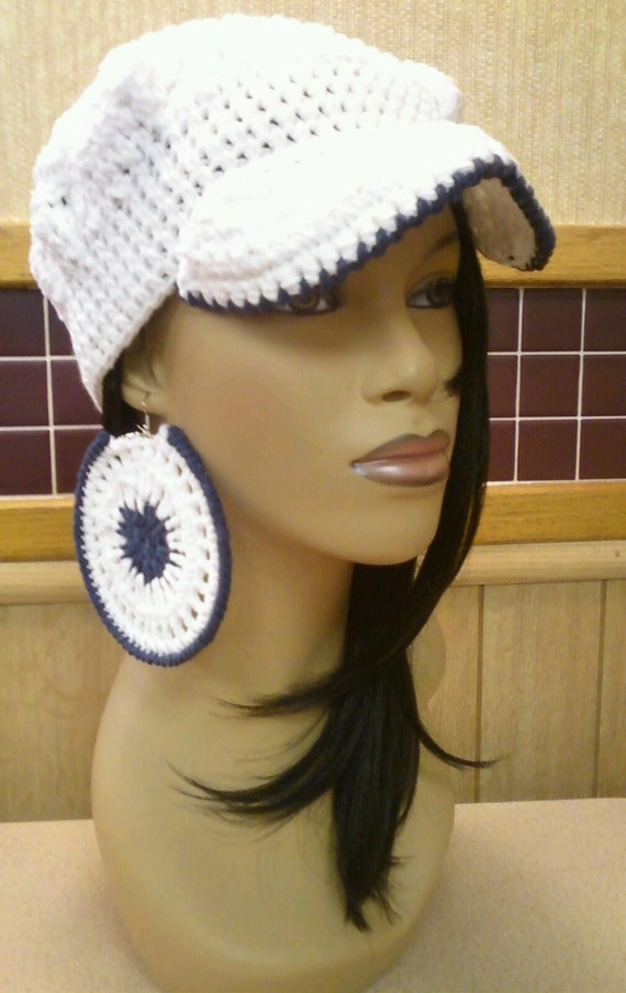 White and Denim Beanie with Brim and free large crochet earrings 100% Cotton