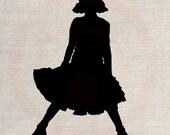Custom Clip Art Design Transfer Digital File Vintage Download DIY Scrapbook Shabby Chic Pillow Silhouette Children Funny Girl No. 0553