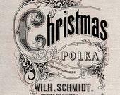 Custom Clip Art Design Transfer Digital File Vintage Download DIY Scrapbook Shabby Chic Pillow Christmas Polka Music Sheet No. 0578