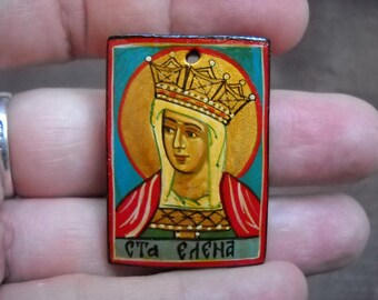 miniature icon of Saint Empress Helen- hand painted byzantine icon.greek icon, orthodox icon, gift, religious icons, saints icons, folk art