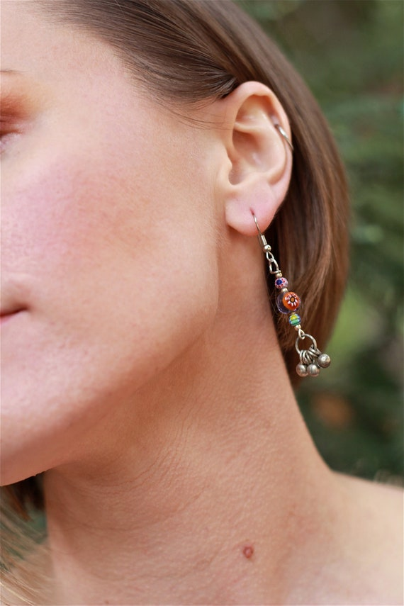 The Bells Chime for Her Handcrafted Bead & Bell Earrings
