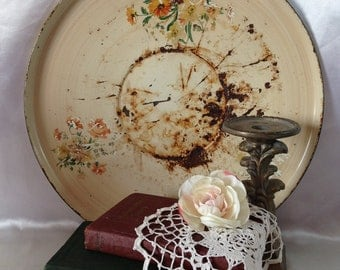 Charger Platter Rusty Crusty Home Decor Shabby Chic TREASURY ITEM