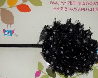 BLACK WHITE DOTS Shabby Frayed Chiffon Flower Headband Babies Toddlers Girls